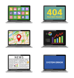 various laptops isolated on white vector image