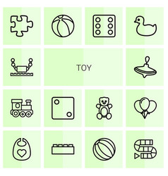 14 toy icons vector image