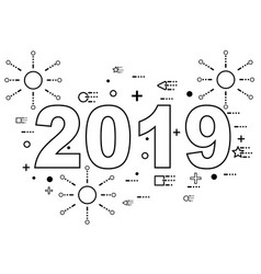 2019 happy new year linear style vector image