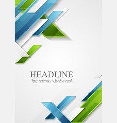 Abstract blue green geometric tech flyer design vector