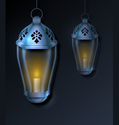 Arabian card with lanterns fanoos for islamic vector