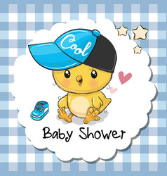 baby shower greeting card with cute chicken boy vector image