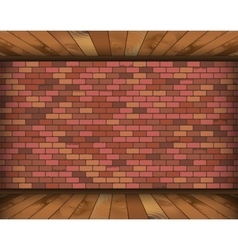 Background room with bricks and wooden floor vector