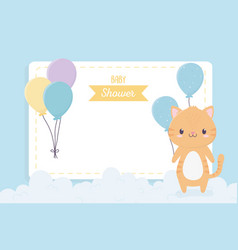 bashower cute little cat balloons clouds vector image