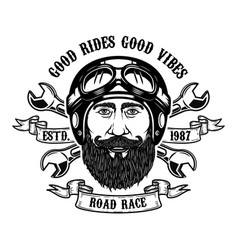 bearded rider good rides good vibes bearded man vector image