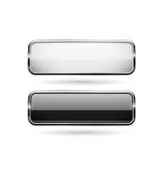 Black and white square glass 3d buttons with metal vector