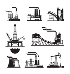 black factory icons set on gray vector image