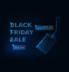 Black friday sale banner with glowing low poly tag vector