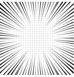 black radial lines with gray halftone for comic vector image