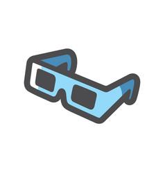 blue cinema glasses 3d effect icon cartoon vector image