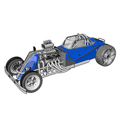 blue retro racing car on white background vector image