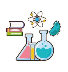 book molecule test tubes science vector image