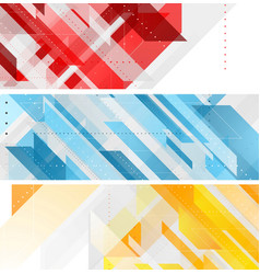 Bright technology geometric abstract banners vector