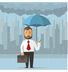 Businessman holding an umbrella vector