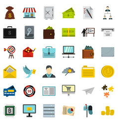 businessman icons set flat style vector image