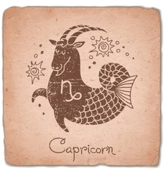 Capricorn zodiac sign horoscope vintage card vector