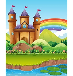 Castle towers by the pond vector