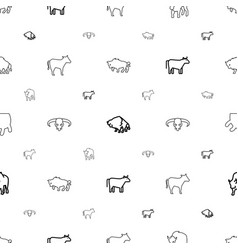 Cattle icons pattern seamless white background vector
