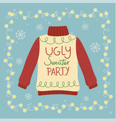 Christmas ugly sweater party glowing lights vector