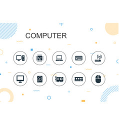 Computer trendy infographic template thin line vector