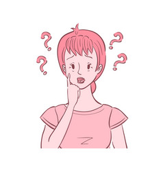 Confused woman with questions around her head vector
