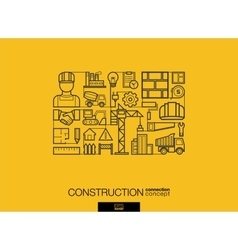 Construction integrated thin line symbols modern vector