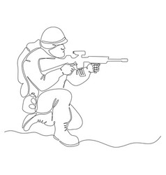 Continuous line drawing soldiers vector