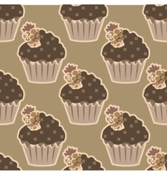Cream choco cake seamless pattern vector
