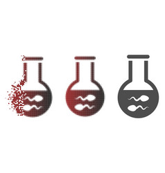 Destructed pixelated halftone sperm flask icon vector