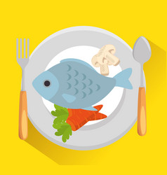 dish with fish and vegetables vector image