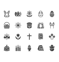 easter flat glyph icons set colored eggs basket vector image