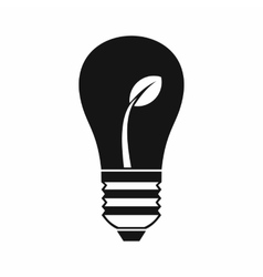 Ecology idea bulb with plant icon simple style vector image