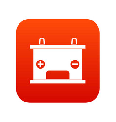 Electricity accumulator battery icon digital red vector
