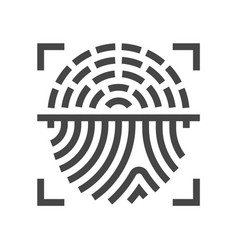 Fingerprint scanning identification line icon vector