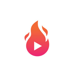 fire flame play logo icon vector image