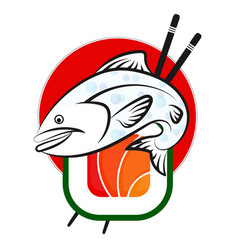 fish and sushi vector image