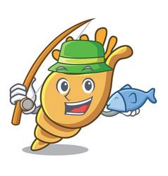 Fishing exotic shell mascot cartoon vector