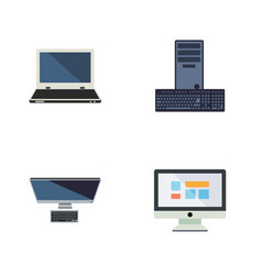 flat icon laptop set of notebook pc display and vector image