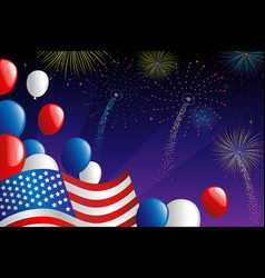 fourth july fireworks vector image