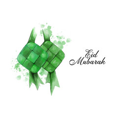 Graphic eid greetings with ketupat rice vector