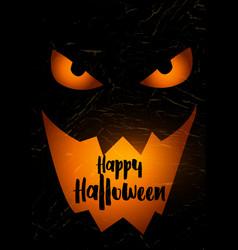 grunge halloween background with spooky pumpkin vector image