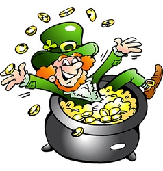 Hand-drawn of an Happy Leprechaun vector image