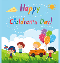Happy childrens day poster with kids in the park vector