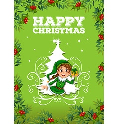 Happy christmas theme with elf and present vector image