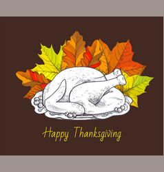 happy thanksgiving day meal poster text vector image