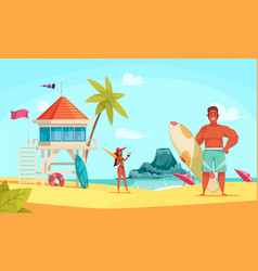 hawaii beach composition vector image