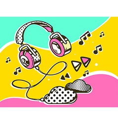 Headphone with clouds on colorful backgro vector
