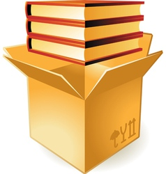 Icon of books in box vector