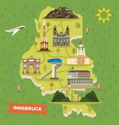 innsbruck map with landmarks austria town vector image