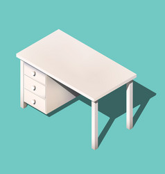 Isometric office table modern workplace vector
